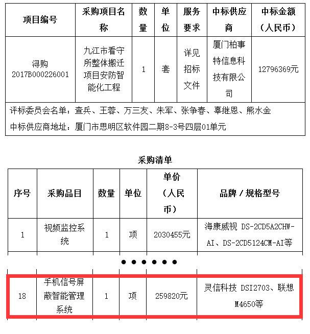 """""""九江市看守所整体搬迁项目安防智能化工程""""选用灵信科技手机信号屏蔽智能管理系统"""